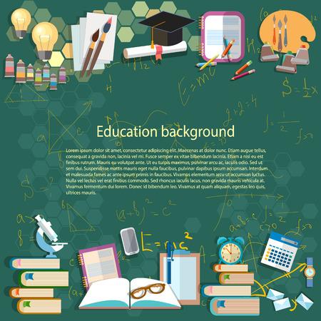 Fondo de la educación: matemáticas fórmula álgebra pensamiento geometría aprender de nuevo a la escuela universitaria idea universidad luz estudiante bombilla objetos ilustración vectorial