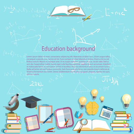 studying classroom: Science and education, background, chemistry, physics, formula, chemistry, learning, back to school, university, college, textbooks, lessons, vector illustration Illustration