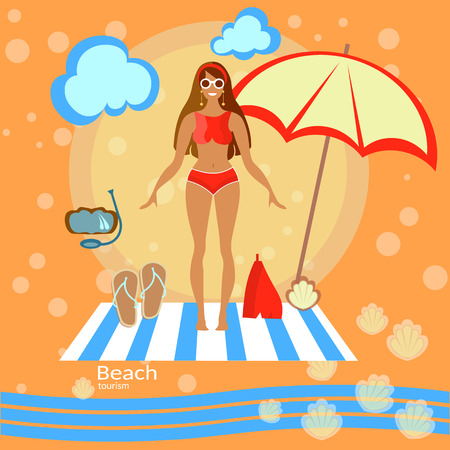 summer holiday bikini: Beautiful woman girl, beach, sunbathe, swimsuit, bikini, sunglasses,, tourism, recreation, sea, beach umbrella, smile, swimming, tropical, vector illustration Illustration
