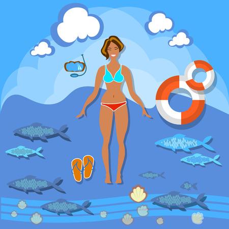 sunbathing: Beautiful girl beach smile woman summer vacation sea tropics slim fashion bikini swimsuit diving lifebuoy swimming sunbathing vector illustration Illustration