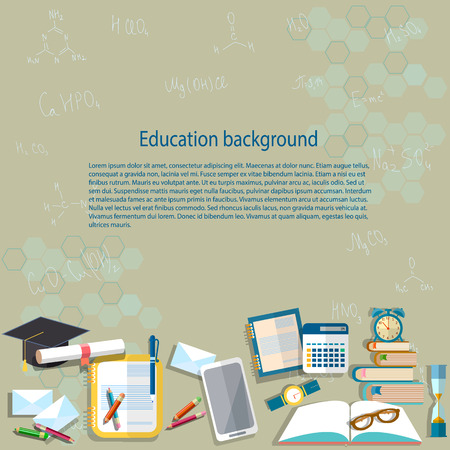education background: Education background: chemistry, chemical formulas, notebooks, back to school, college, university, lessons, student table, vector illustration Illustration