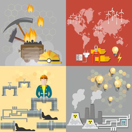 carbone: Concetto di energia: petrolio, carbone, centrali nucleari, l'energia nucleare, energia elettrica, gasdotti, carburante, petroliere, ecologia, inquinamento, rifiuti, industria, industria mineraria, miniera di carbone, vettore banner
