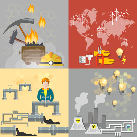 Energy concept: petroleum, coal, nuclear power plants, nuclear energy, electricity, gas pipeline, fuel, oil man, ecology, pollution, waste, industry, mining, coal mine, vector banners