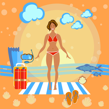 sunbathe: Beautiful girl on the beach, sunbathe, towel, woman, summer, flippers, sports, diving, smile, swimming, skinny, happy holidays by the sea, vector illustration
