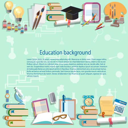 Fondo de la educación de nuevo a la universidad instituto universitario aprende la escuela Ejemplo estudiante exámenes escritorio vector de formación