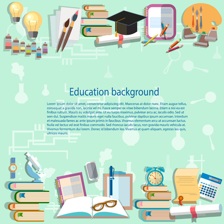 Education background back to school university college institute learning student desk examinations training vector illustration