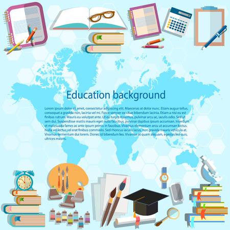 educaci�n en l�nea: Ciencia y educaci�n: volver a la escuela, mapa del mundo la educaci�n en l�nea, estudiante asignaturas universitarias, la universidad, las matem�ticas, la f�sica, �lgebra, geometr�a, vector de fondo Vectores