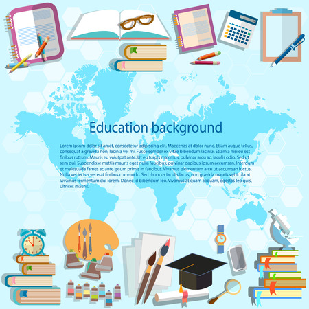 classbook: Science and education: back to school, world map online education, student subjects university, college, math, physics, algebra, geometry, vector background Illustration