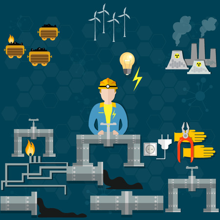 production of energy: Electricity, extraction of petroleum, oil production, energy sources,nuclear station,coal, gas, miners, oil workers, vector illustration Illustration
