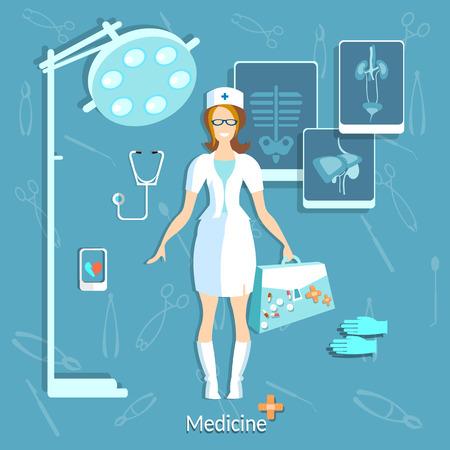 internist: Doctor medicine student beautiful nurse smile x-ray operating room physician research hospital stethoscope hospital pills ambulance vector illustration