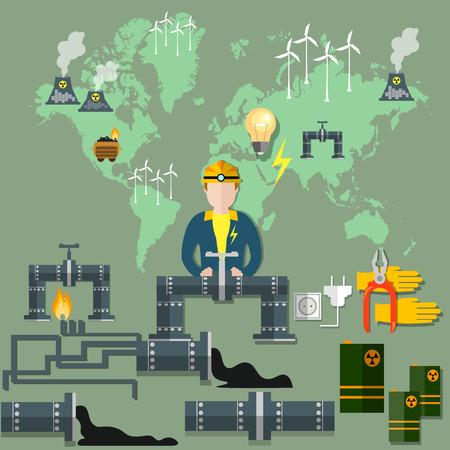 mining: La energía nuclear, la energía eólica, tubería, molino de viento, la minería, el combustible, los residuos nucleares, la ecología, el petróleo, el gas, el carbón, la electricidad, las centrales nucleares, ilustración vectorial: Energía Mundial Vectores