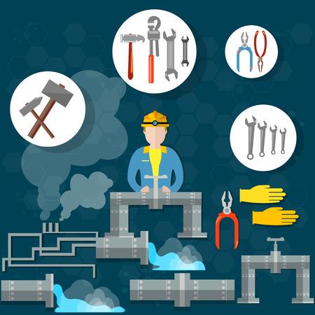 plumber with tools: Tuber�as de fontaner�a herramientas fontanero ilustraci�n trabajador fontanero reparaci�n de la rotura de los servicios de martillo llave de plomer�a eliminaci�n del vector