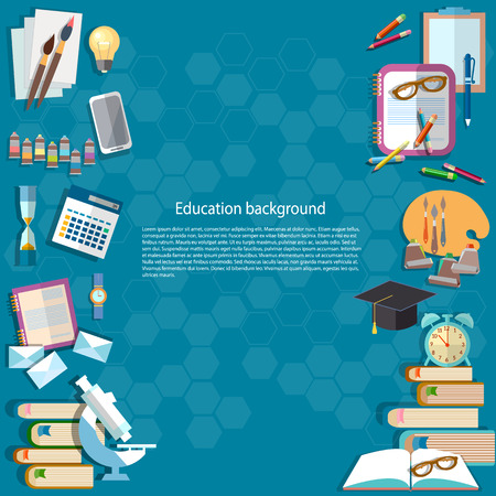 Education background back to school university college institute learning pencils notebooks lessons learn education vector illustration 일러스트