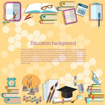 studies: Education background back to school university college institute learning math textbooks pencils, alarm clock, microscope study student desk training concept