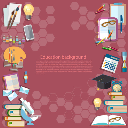college student: Education background: back to school university college institute learning school subjects lessons notebooks textbooks student table vector background