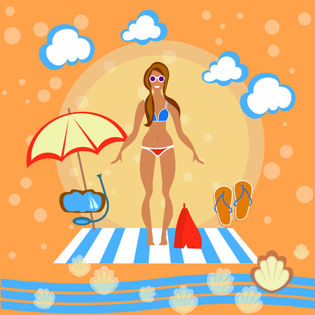 sunbathe: Beautiful girl, woman, beach, sunbathe, swimsuit, bikini, sunglasses, beach umbrella, smile, swimming, tropical, tourism, recreation, sea, vector illustration