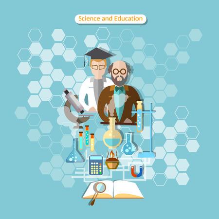 profesor: Ciencia y educación, la investigación de laboratorio, el profesor, la química, la física, asistente, la farmacología, la ilustración vectorial