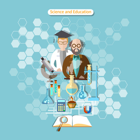 laboratory research: Science and education, laboratory research, professor, chemistry, physics, assistant, pharmacology, vector illustration