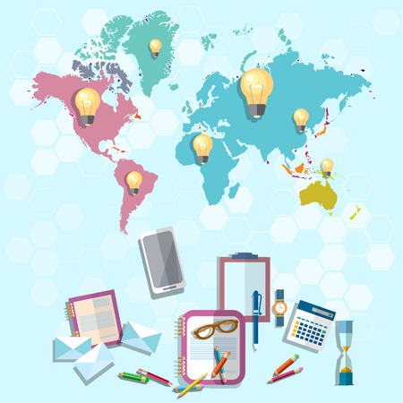 international internet: International education online learning university college internet school lessons world Europe Asia America Russia vector illustration Illustration