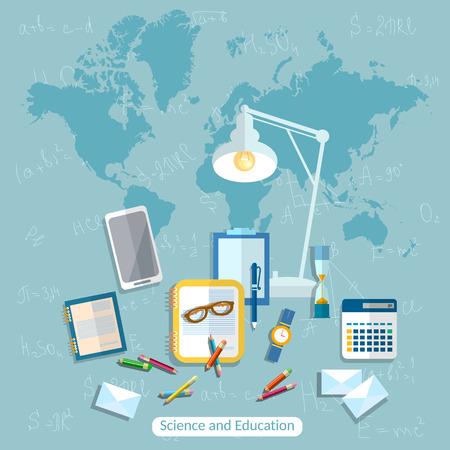 integral: Education:online learning, student, school desk, international, college, school, university, books, formula, math, algebra, geometry, vector illustration