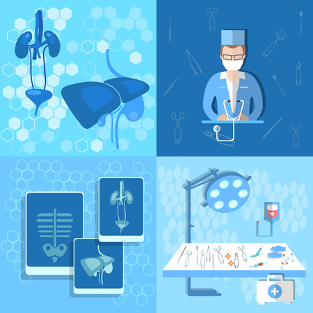 urologist: Medicine, doctor, human organs, lungs, liver, kidneys, transpatologiya, an X-ray, operating table, vector illustration