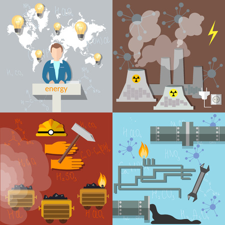 coal mine: Energy concept  ecology pollution petroleum coal nuclear power plants nuclear energy electricity gas pipeline fuel waste industry mining coal mine vector set icons Illustration