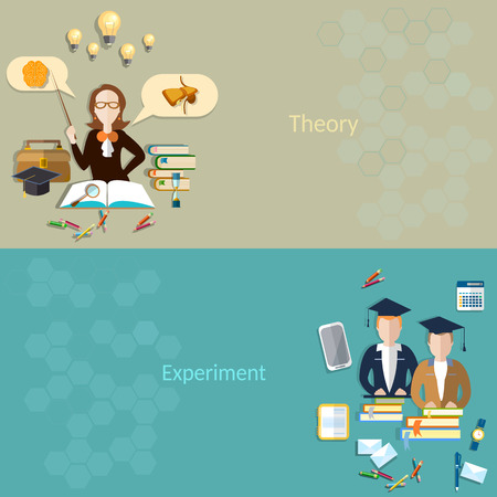 examinations: Science and education: the students for learning, the teacher in the classroom, biology, school, college, university, experiment, books, examinations, textbooks, lessons, vector banners