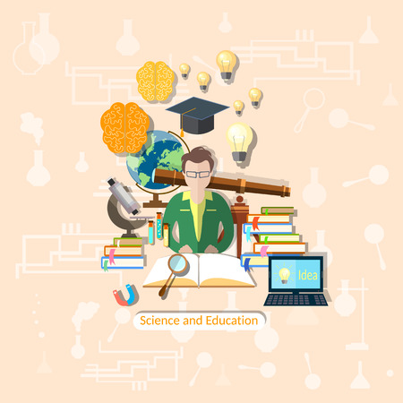 Education and science: student, study, research, experimentation, lessons, school, university, college, vector illustration