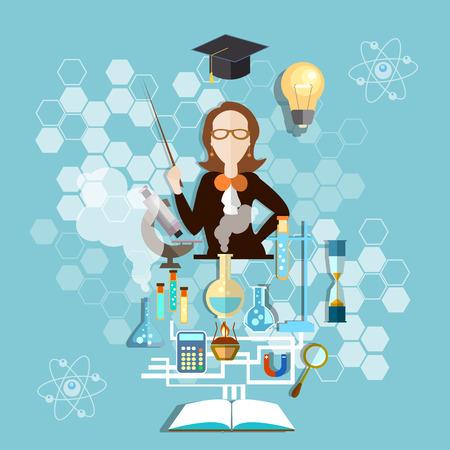 education concept: Education concept: teacher in the classroom, chemistry, lab, experiment, school, university, college, vector illustration Illustration
