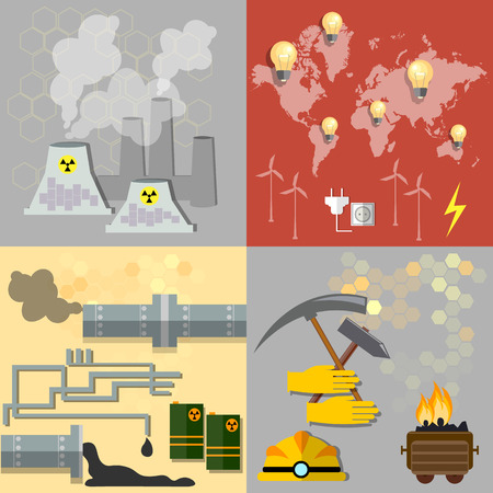 nuclear energy: energy sources: nuclear energy, wind energy,alternative energy, power, fuel, oil, coal, gas, electricity,ecology, pollution, vector illustration