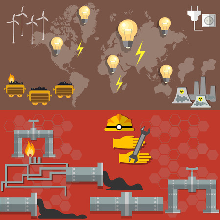 fabrication: World oil production,energy, nuclear plants, fuel fabrication, nuclear power, electricity, pipeline oil worker, miner, coal oil, petroleum, petrochemical plant vector banners Illustration