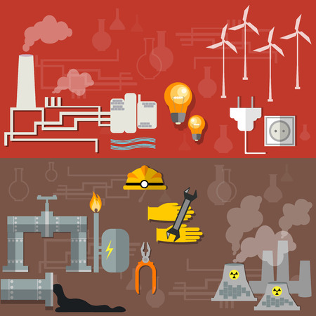 petrochemical: World oil production  nuclear plants fuel fabrication nuclear power energy electricity pipeline oil worker miner coal oil petroleum petrochemical plant vector banners