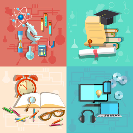 university campus: Education and Science: online learning, college, school, university, computer, laptop, laboratory, chemistry, physics, alarm clock, books, pencils, diploma, brain, vector illustration Illustration