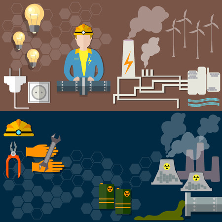 Electric power, nuclear energy, oil worker, coal mining, wind power, gas pipeline, gasoline, fuel, energy, electricity, electrification, oil field, pollution, ecology, vector banners