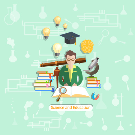dersleri: Eğitim ve bilim: Öğrenciler, dersler, üniversite, kolej, fen, ders kitapları, biyoloji, fizik, kimya, vektör çizim