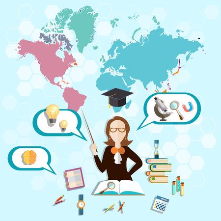 dersleri: Bilim ve eğitim: Öğretmen, çevrimiçi eğitim, okul yönetim kurulu, sınıf dersleri, öğretmek, çalışma, biyoloji, kimya, fizik, vektör çizim
