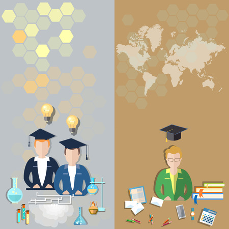 international students: Science and education: students in a classroom, world international study, college, school, university, exams, chemistry, physics, lessons vector banners