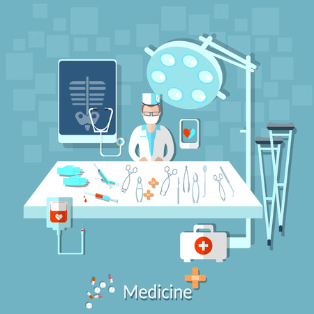 operating room: Health doctor in the operating room, medical instruments, medical treatment, crutches, pills, drugs, vector illustration