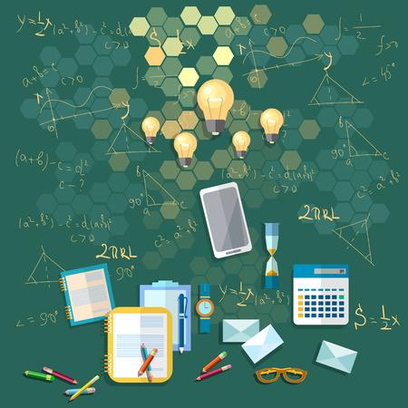 integral: Education: School board, training, formulas, university, college, school, math, physics, calculator, books, vector illustration Illustration