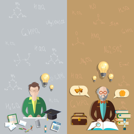 professor: Science and Education, professor, training, classroom, student, exam, teacher, school, college, university, mathematical formulas, vector banners Illustration