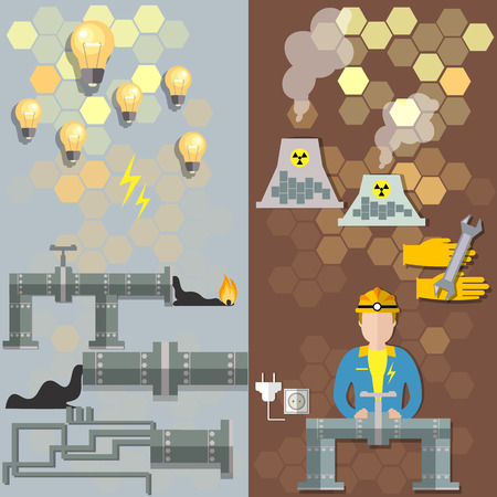 production of energy: Nuclear plants, nuclear energy, oil, electrical,   pipe petrochemical production, energy sources, nuclear station gas, energy, electricity, power, fuel, mining, vector banners