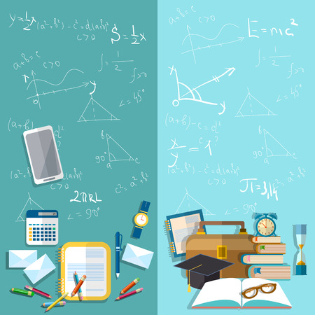 Science and education: school board, mathematical formulas, table student, school, university, college, exams, study, exercise books, pencils, vector banners