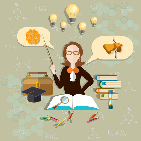 teacher classroom: Education and science teacher of biology, anatomy teacher, woman, school, university, college, classroom, learning, pencils, notebooks, vector illustration