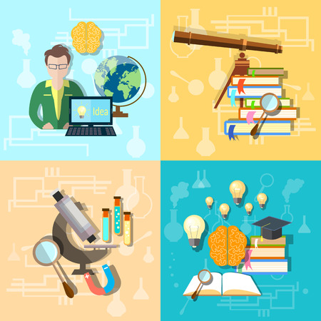 college student: Science and education: students, college, university, astronomy, chemistry, physics, biology, microscope, set vector icons
