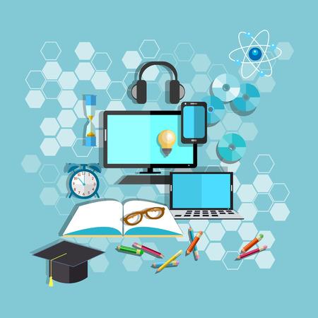 Education, online learning, student desk, school, college, university, computer, notebook, pencils, books, headphones, vector illustration