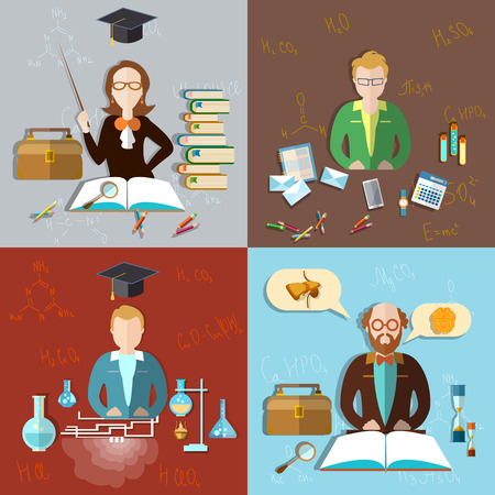 profesores: Concepto de la educación: el aula profesor, estudiantes, profesor, exámenes, enseñanza, escuela, colegio, universidad, química, física, matemáticas, álgebra, ilustración vectorial