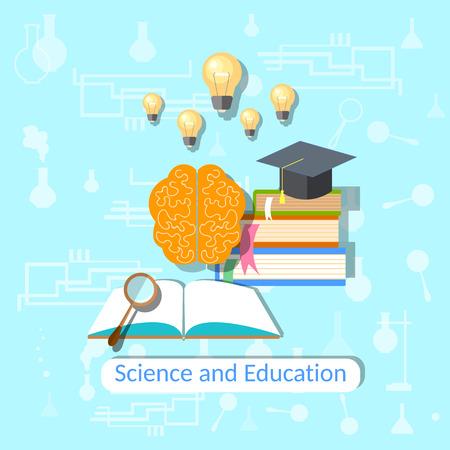 scientific literature: Education concept: science, college, university, books, brain, textbooks, physics, chemistry, mathematics, study, vector illustration