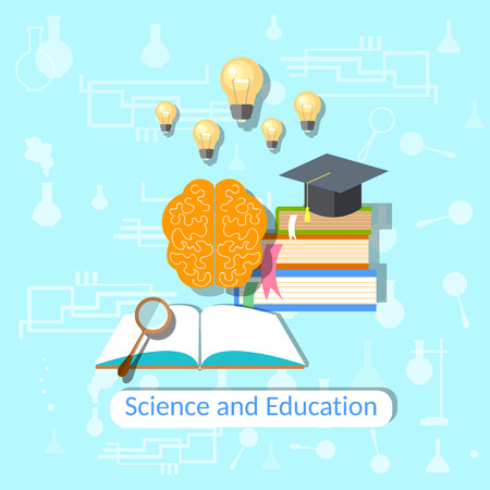 Education concept: science, college, university, books, brain, textbooks, physics, chemistry, mathematics, study, vector illustration