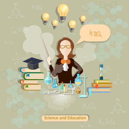 teacher classroom: Science and education, chemistry teacher, woman scientist, school, university, college, experiment, study, formula, classroom, student, exam, lesson, vector illustration