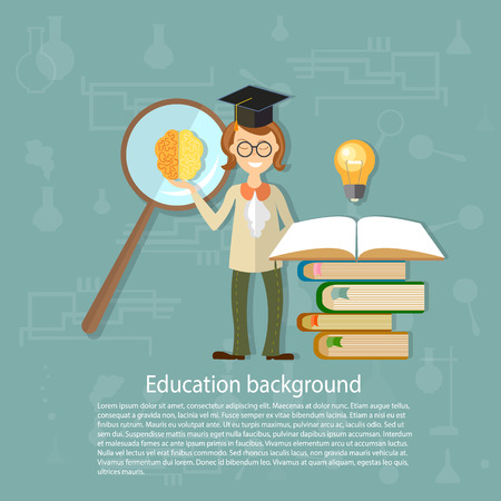 university students: Education concept back to school teacher students open textbook knowledge teaching school board university think lessons idea vector background